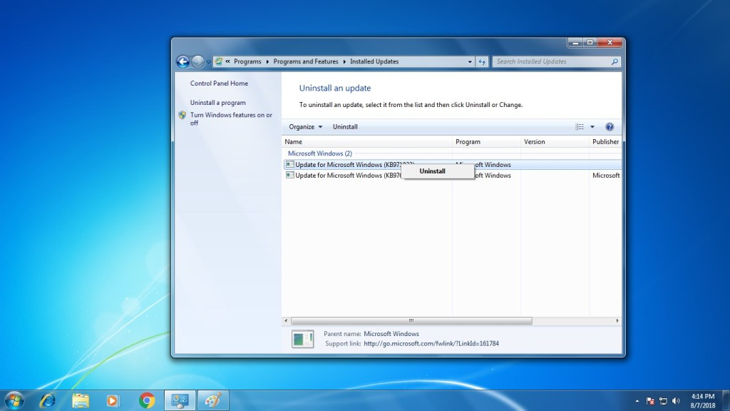 Uninstall An Update in Windows 7