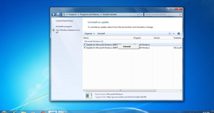 Uninstall An Update in Windows 7