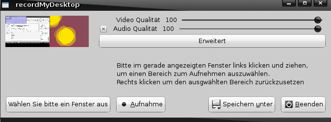 recordmydesktop Startbildschirm