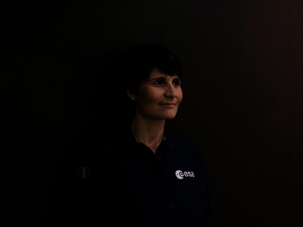 Astronautin Samantha Cristoforetti am Rande einer Lesung in München.