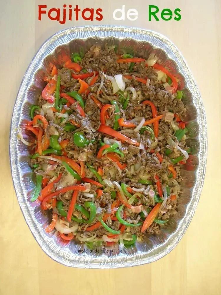 Receta de Fajitas de res para tacos burritos o guisados