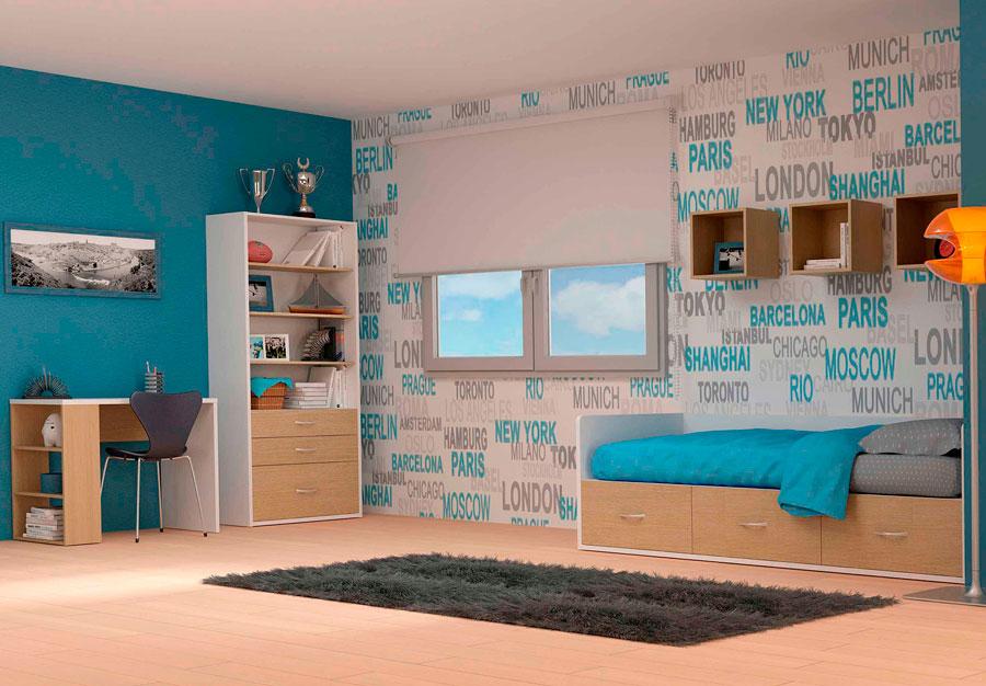 Dormitorio juvenil color roble y blanco modelo Moon Walk
