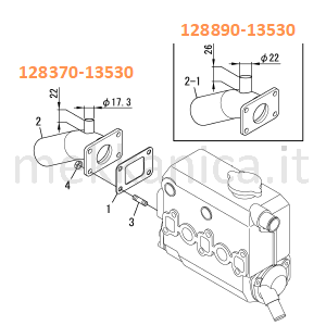 128370-13530 TUBO SCARICO RISER YANMAR 2GM20F-YEU, 3GM30F