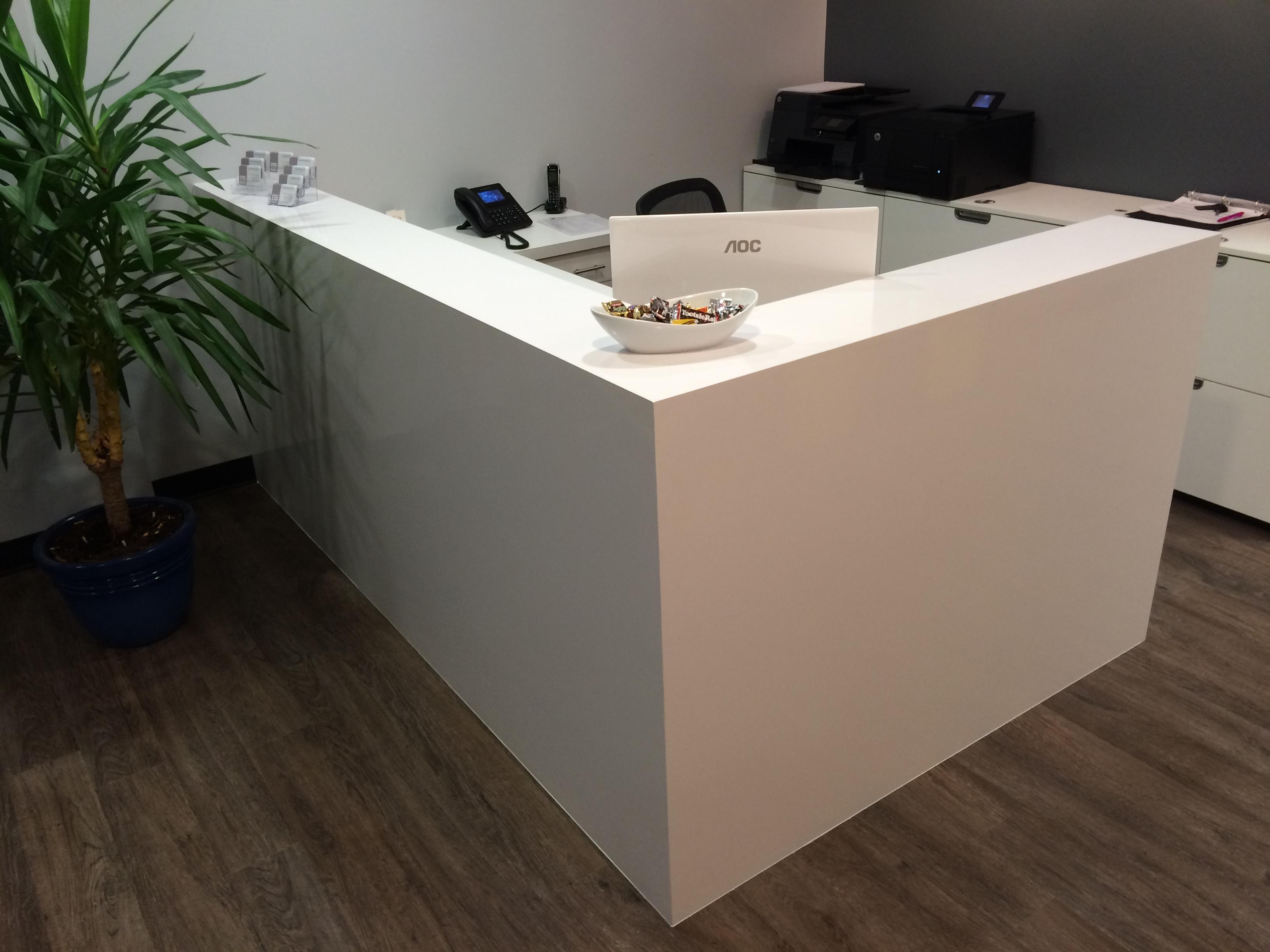 quartz reception desk  Mekkelek Custom Woodwork  Cabinetry