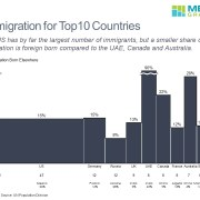 Bar mekko chart showing percentage of immigrants and number of immigrants for Top 10 immigration countries