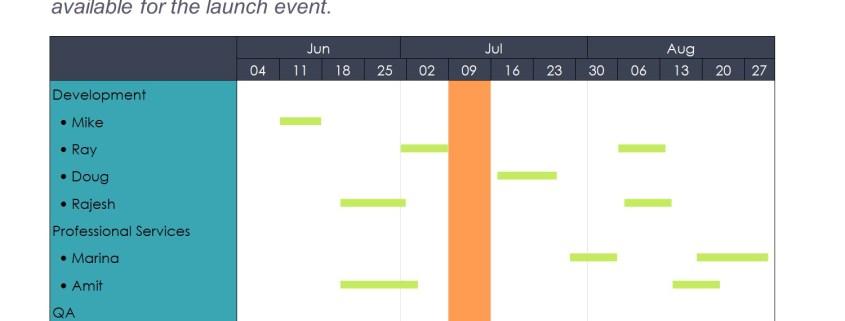 Gantt chart for a project team