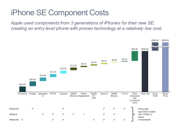 iPhone SE Component Cost Cascade Chart/Waterfall Chart