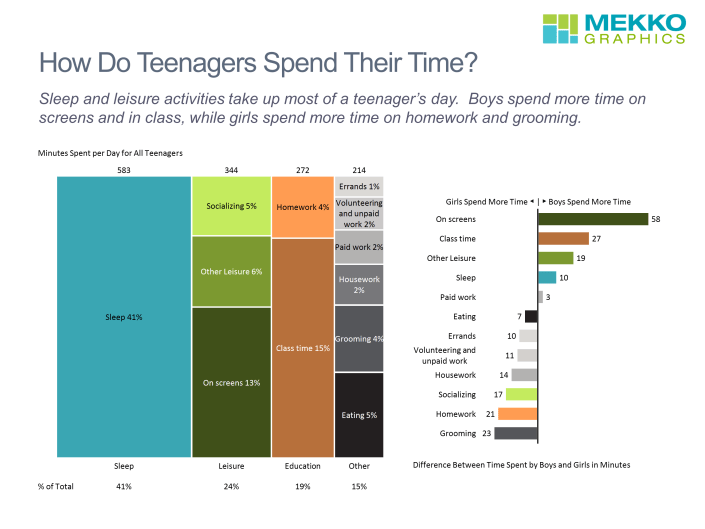 Marimekko chart showing time spend on sleep, school, leisure and bar chart showing gender differences.