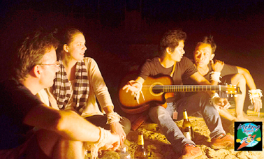 After dinner you can chill out on the beach over some drinks, swapping stories and maybe singing a few songs mekong kayaks Explore Beach party around the campfire