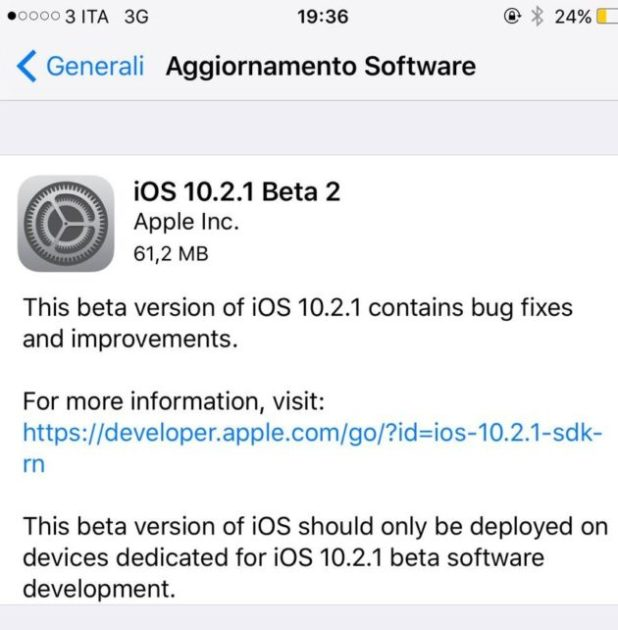iOS 10.2.1 beta 2 firmware