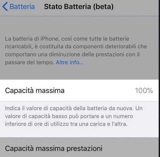 stato della batteria su iPhone