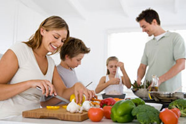 Family preparing food