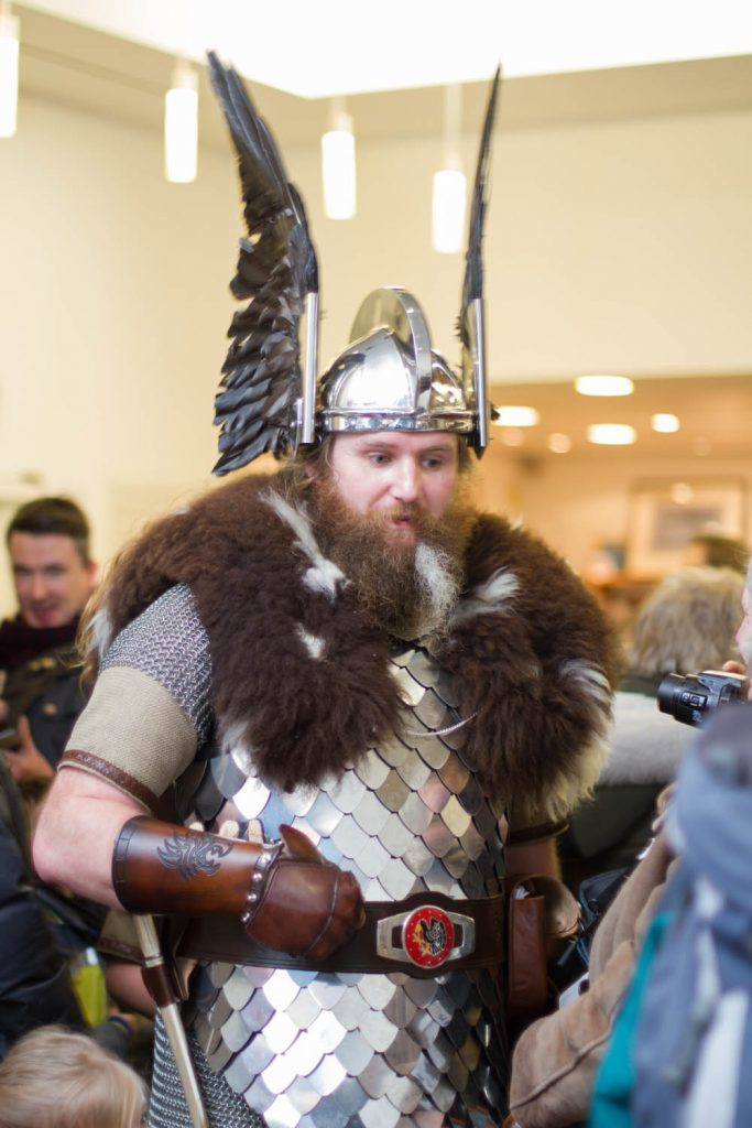 Guizer Jarl dressed in chain mail and sheepskin.