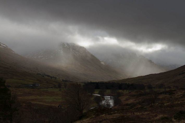 Photo of rain coming down through Glen Lyon in Perthshire.