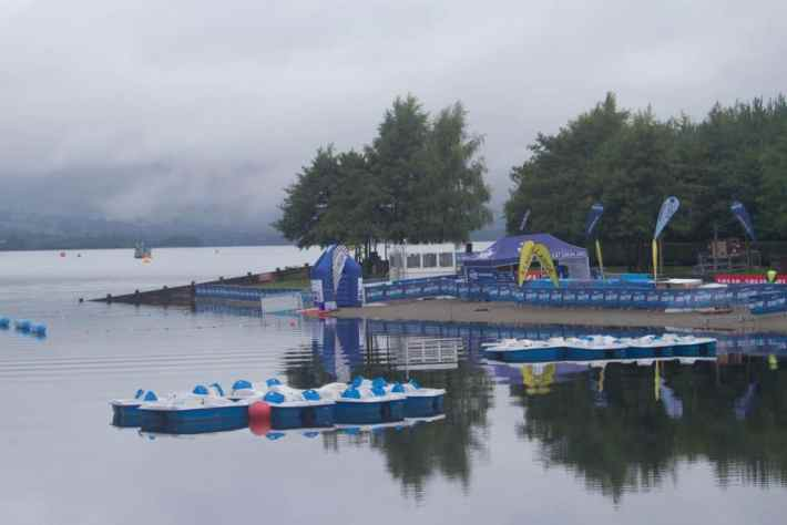 Loch Lomond, Great Scottish Swim. Photo of the finish line - gazebo and barriers for spectators