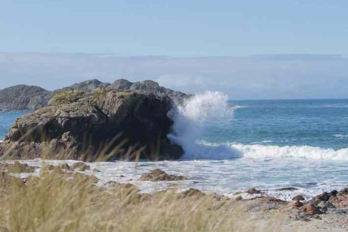 Waves crashing against rocks - a beach on Iona, Scotland