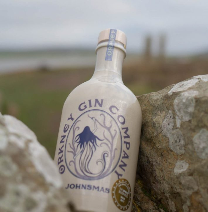"Orkney Gin Company ""Johnsmas"" gin bottle photographed at Ring of Brodgar"