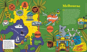 closeup of melbourne map icons