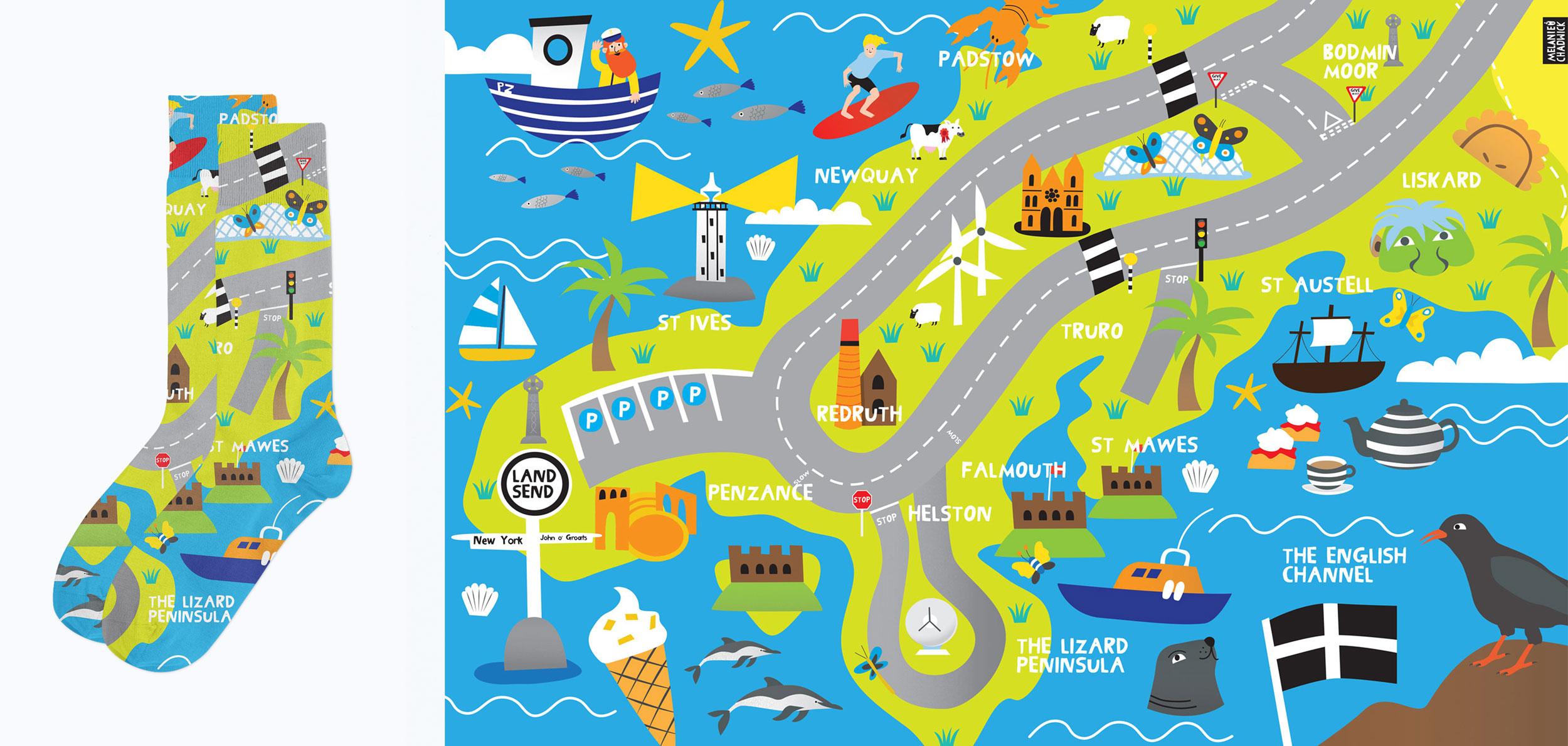 Socks-cornwall-map-illustration-Melanie-Chadwick