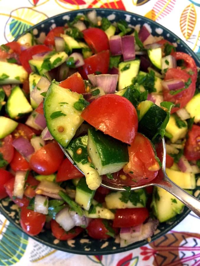 Raw Zucchini Tomato Salad Recipe – Melanie Cooks