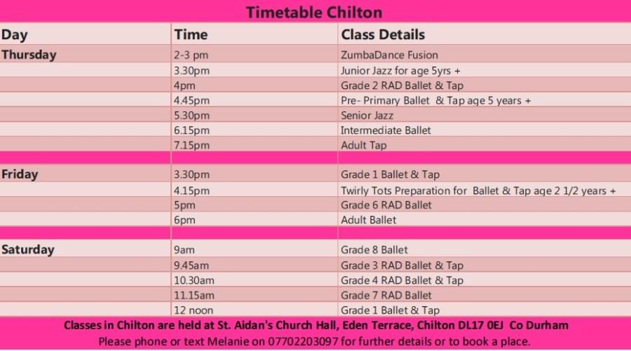 Timetable Dance Classes Chilton Co Durham
