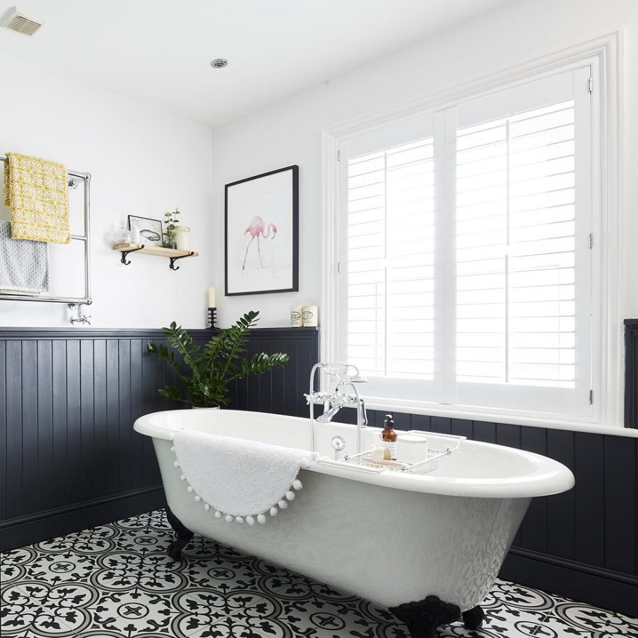 panelling, bathroom, monochrome tiles