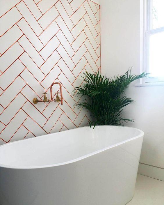 bathroom, metro tiles, bath, orange grout