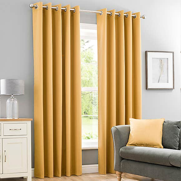 mustard yellow eyelet blackout curtains