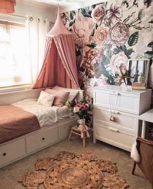 wallpaper, floral wallpaper, flower wallpaper, mural, bedroom