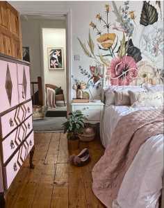 floral wallpaper, wallpaper, flower mural, mural, bedroom, pink, pink cabinet