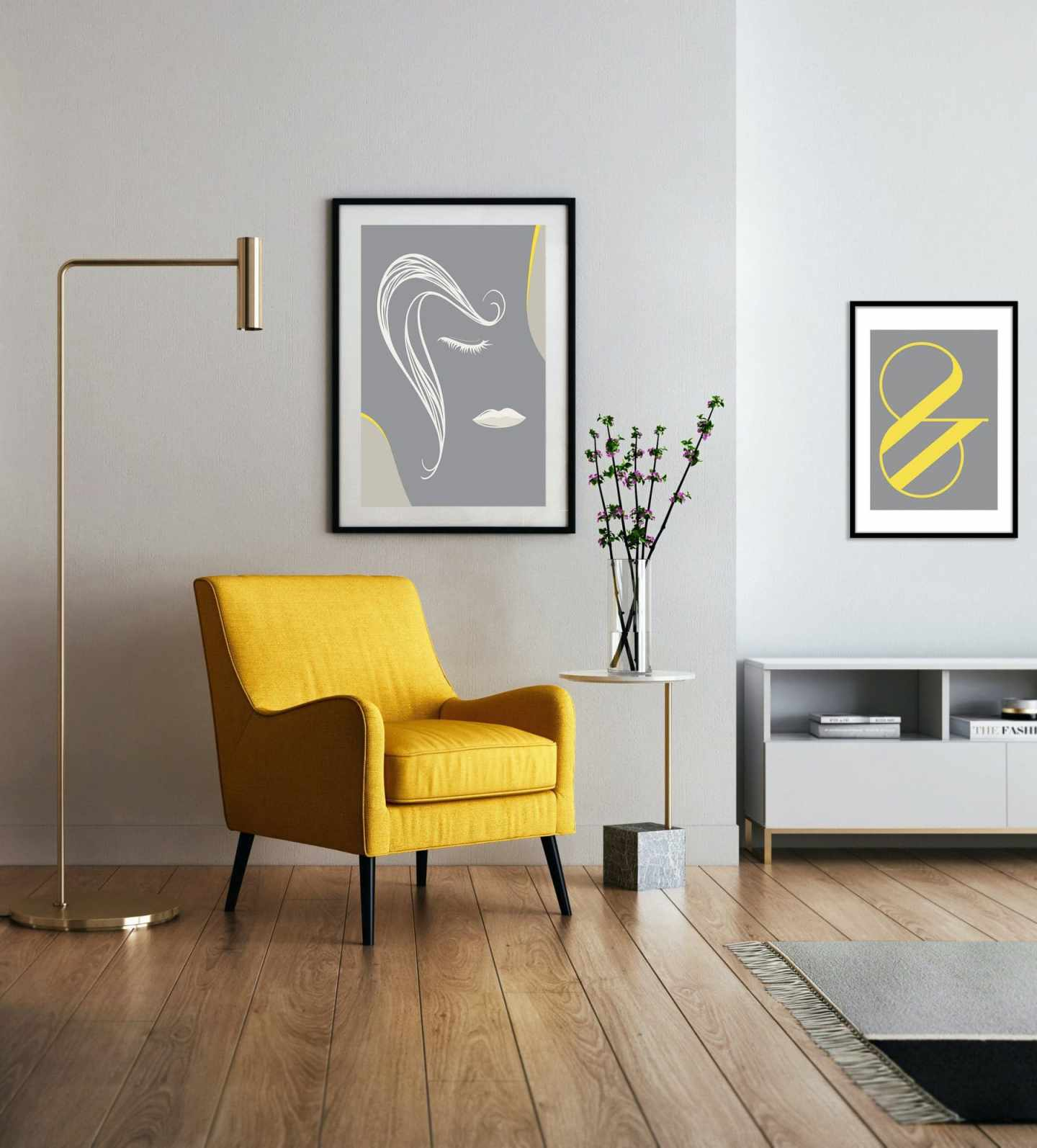 grey prints with a splash of yellow. bright yellow armchair in the living room