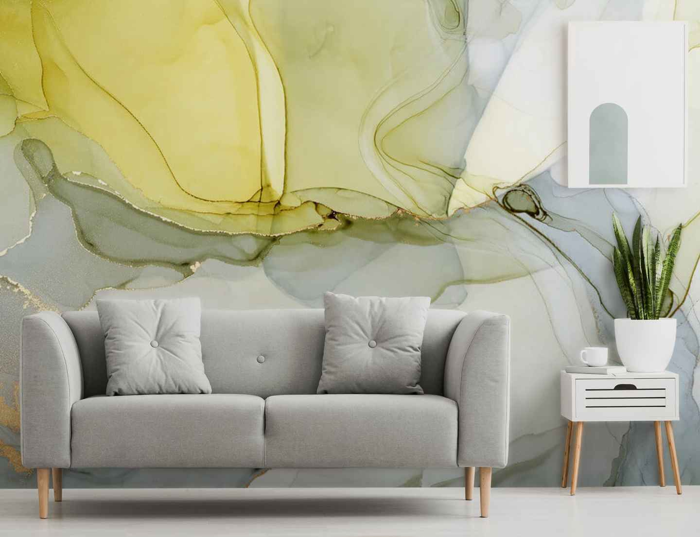 abstract mural style wallpaper in grey and mustard