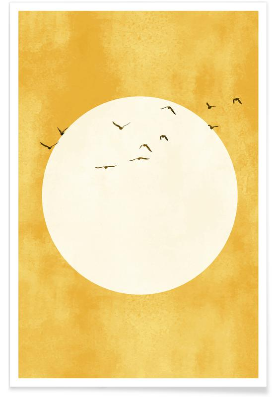 yellow print of the sun with birds