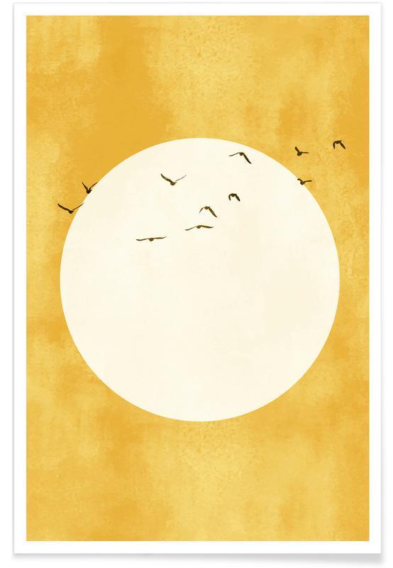 žuti otisak sunca s pticama