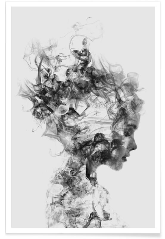 grey abstract print of a lady
