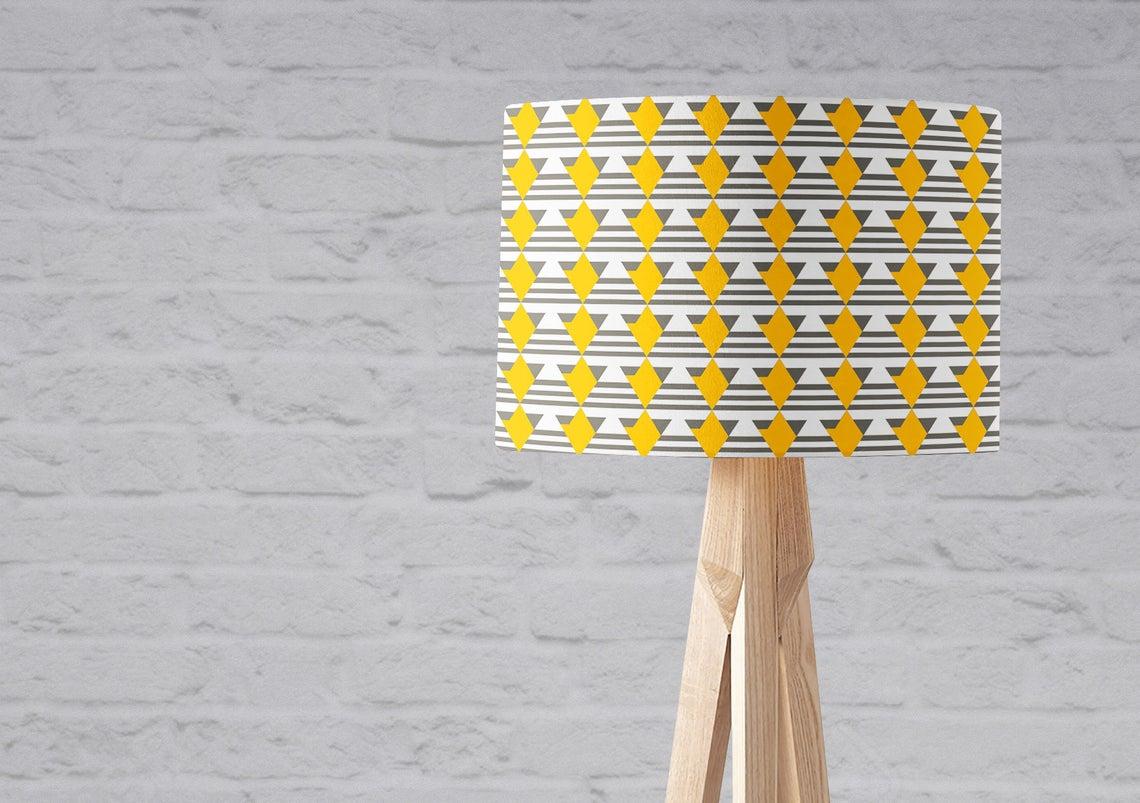 grey and yellow geometric lamp shade