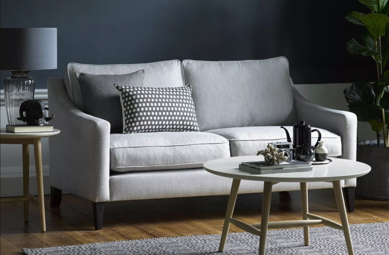 grey two seater sofa from sofa.com with dark grey wall and grey rug