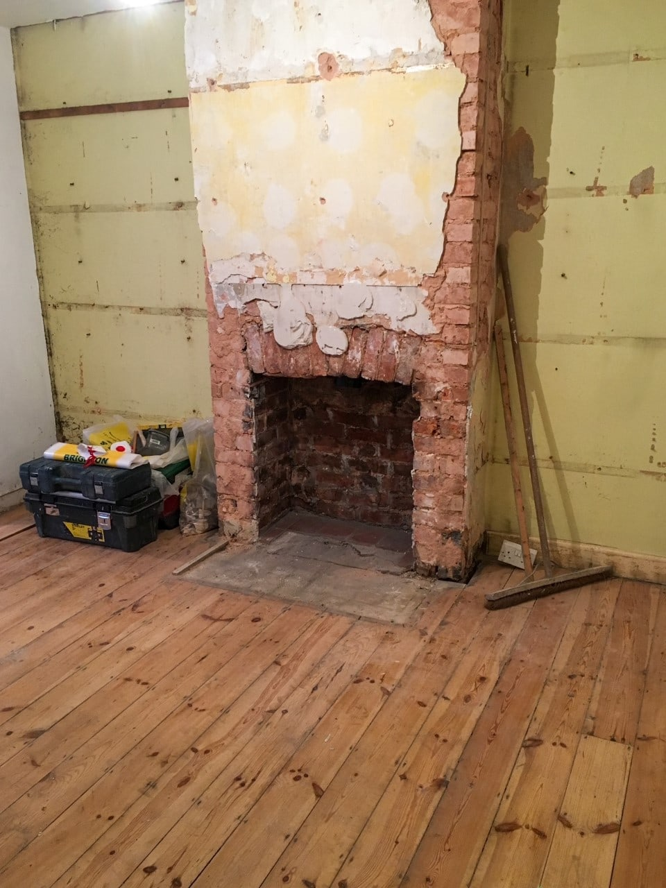 The start of the kitchen renovation with the chimney stack being widened ready for the oven