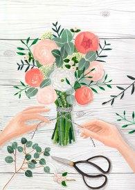Le bouquet - Gouache