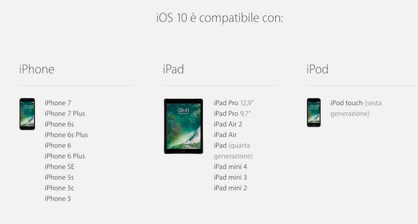 iOS 10: lista dispositivi compatibili e supportati