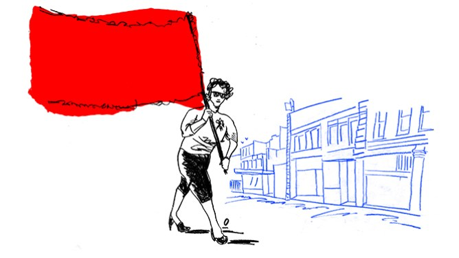 Line drawing of person holding a red flag by Oslo Davis.