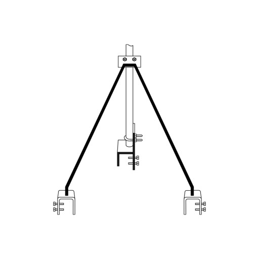 """Strammit Style Roof - TV Antenna Bracket (Large Foot) """"Requires Mast"""""""