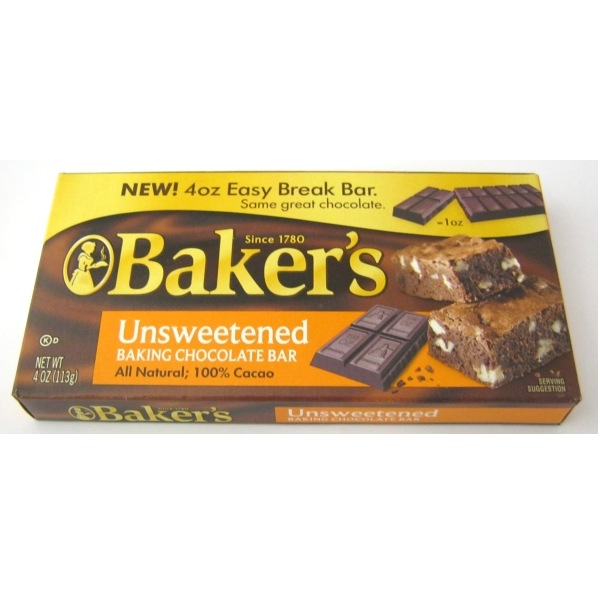 Baker's Unsweetened Chocolate | American | 100% Pure Cacao ...