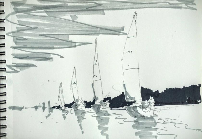 A sketch using three tones
