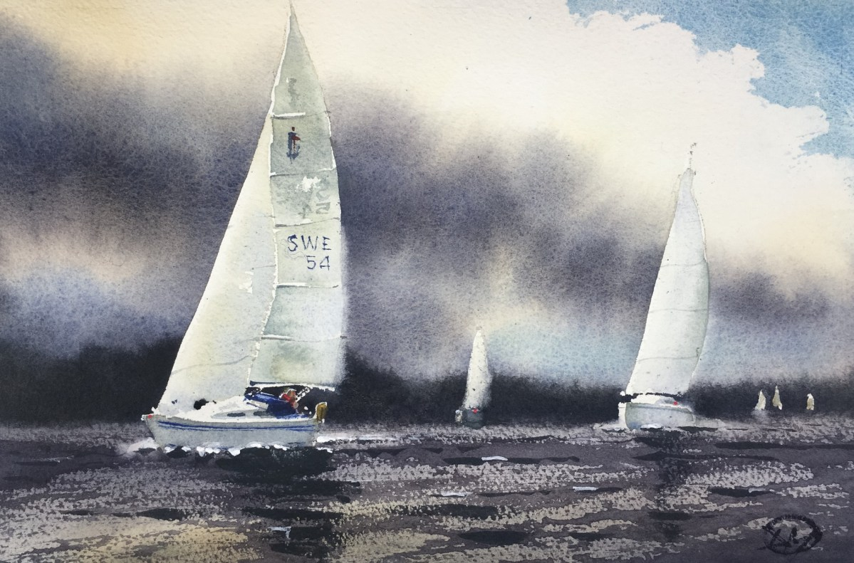 A watercolour featuring sailing boats