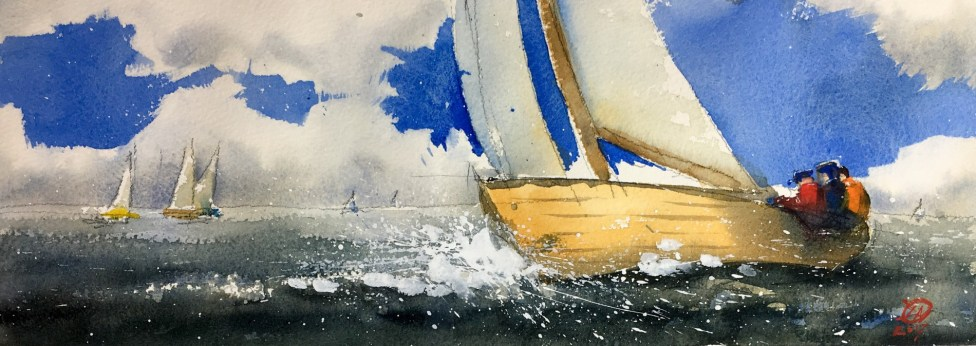 Watercolour of Folk boat