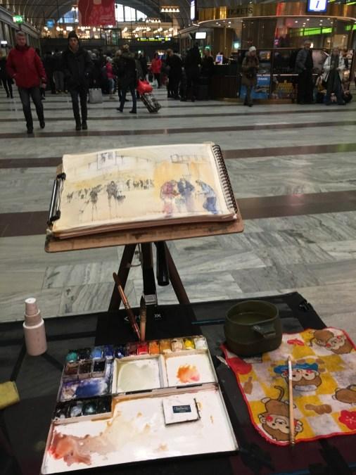 Sketching Stockholm Central Station