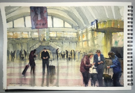 Watercolour of Central Station Stockholm