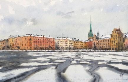 Waterclour, Winter in Stockholm by David Meldrum