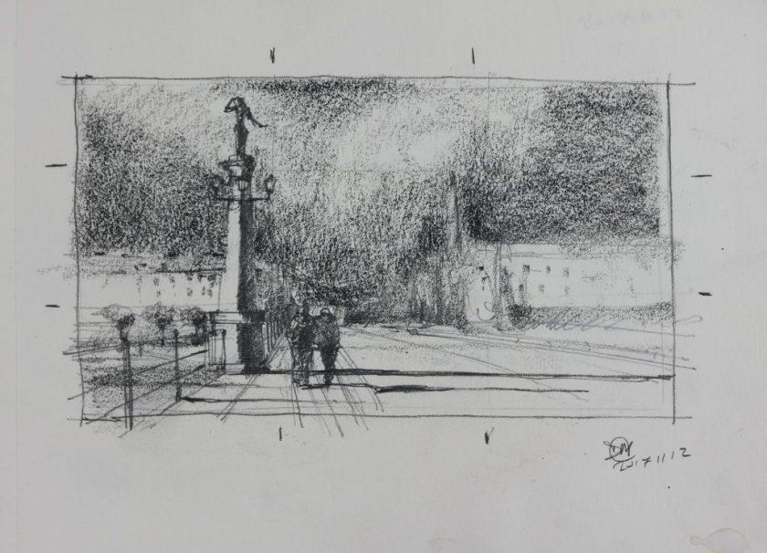 A5 pencil sketchof Djurgårdsbron, Stockholm